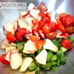 Asia Raclette: Äpfel, Tomaten, Lauchzwiebeln